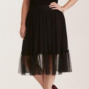 Torrid Black Tulle Mesh Midi skirt NEW